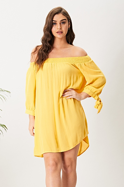 Yellow Off Shoulder Mini Dress