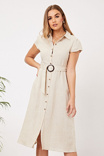 Nude Linen Cap Sleeve Self Belted Shirt Dress