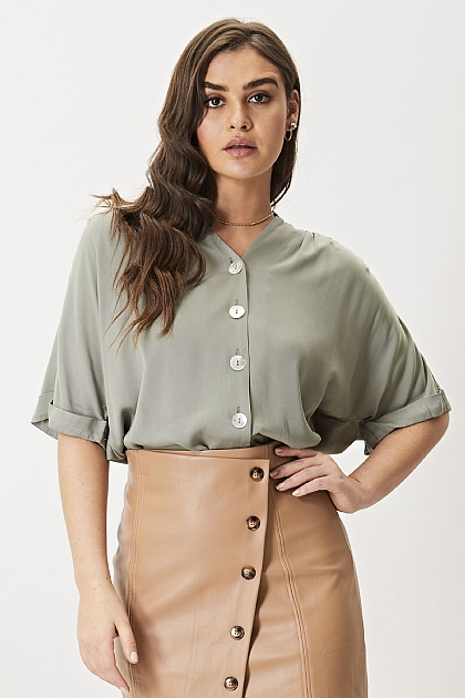 Sage Green Button Up Short Sleeve Blouse