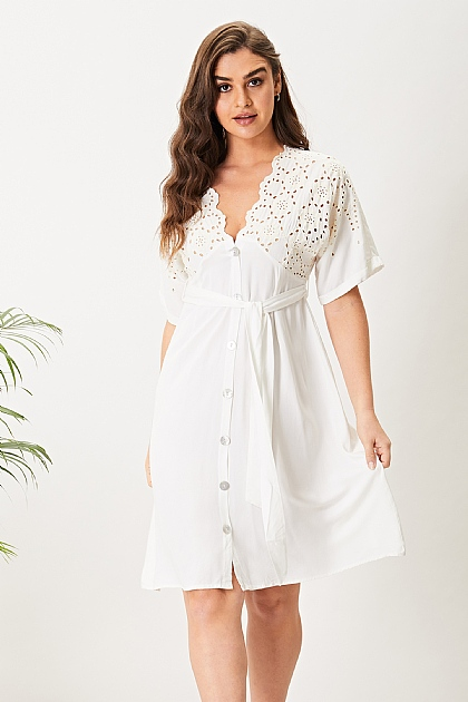 White Broderie Anglaise Short Sleeve Mini Dress