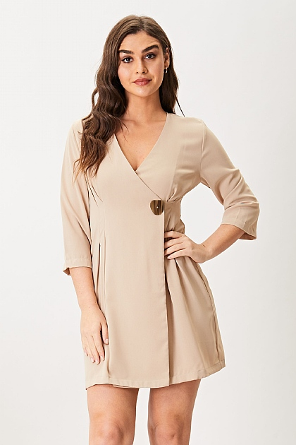 Nude Wrap Blazer Mini Dress