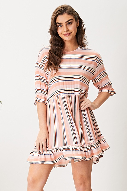 Pink Mix Stripe Print Short Sleeve Mini Smock Dress