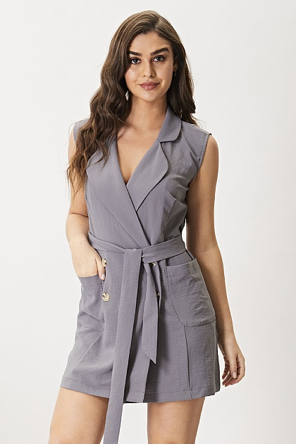 Charcoal Grey Sleeveless Blazer Dress