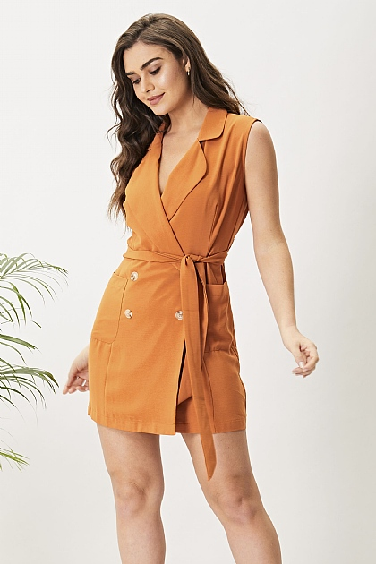 Rust Orange Sleeveless Blazer Dress