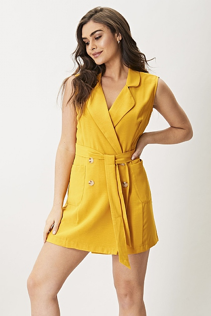 Sunshine Yellow Sleeveless Blazer Dress