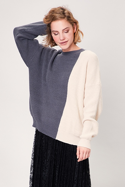 Grey and Cream Block Knitted Long Sleeved Jumper