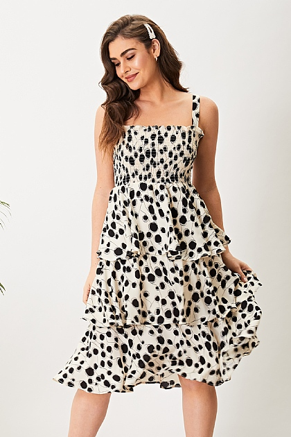 Black Polka Dot Ruffle Cami Midi Dress