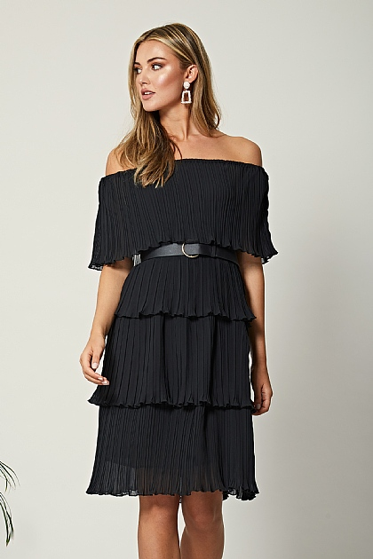 Black Pleated Bardot Layered Fabric Midi Dress