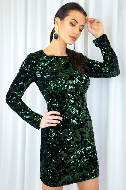 Emerald Full Sleeve Sequence Mini dress