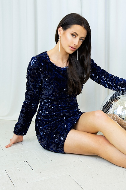 Navy Full Sleeve Sequence Mini dress