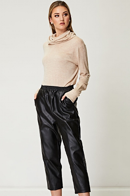 PU Leather Jogger Trousers in Black