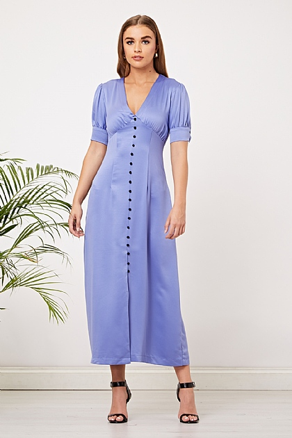 Light Blue Satin Button Up Maxi Dress
