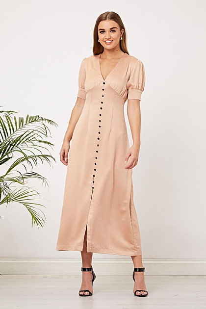 Cream Beige Satin Button Up Maxi Dress