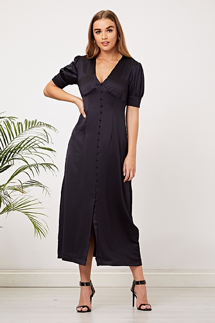 Navy Satin Button Up Maxi Dress