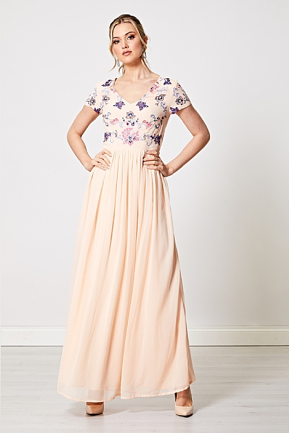 Embellished Sequin Embroidered Maxi Dress in Light Pink