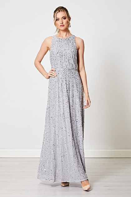 Embellished Sequin Beaded Sleeveless Maxi Dress in Silver