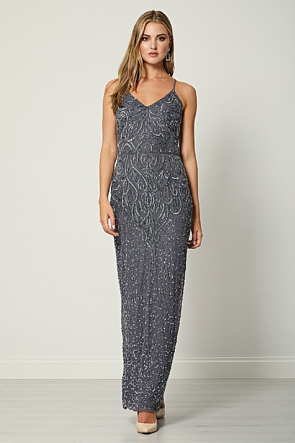Charcoal Grey Cami Bodycon Maxi Dress