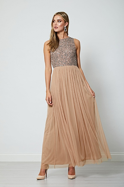 Pink Gold Sequin Sleeveless Maxi Dress