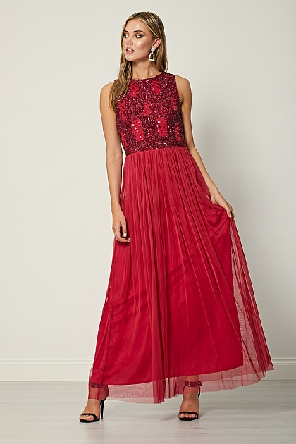 Red Burgundy Embellished Sleeveless Maxi Dress
