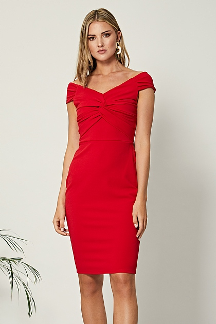 Red Twist Front Off Shoulder Bodycon Midi Dress