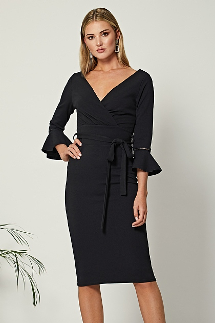 Black Frilled Long Sleeve Bodycon Wrap Mini Dress