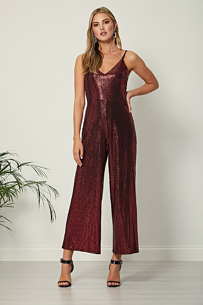 Burgundy Red Sequin Cami Jumpsuit