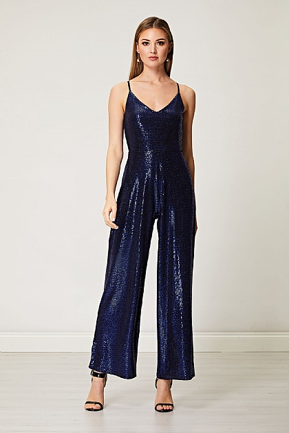Navy Blue Sequin Cami Jumpsuit
