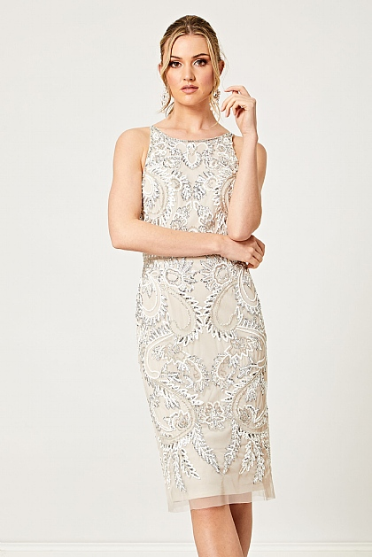 Champagne and Silver Beaded Halter Midi Dress
