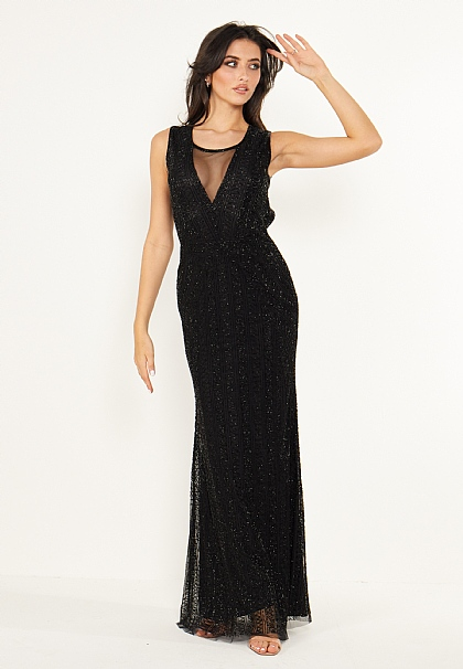 Black Embellished Open Back Maxi Dress