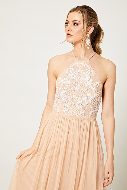 Blush Pink Embellished Halterneck Maxi Dress