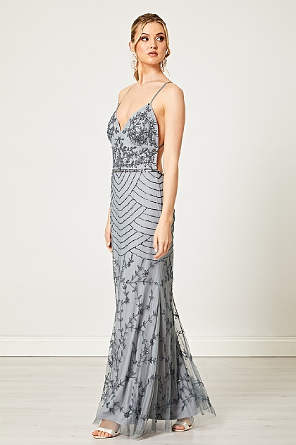 Silver Cami Embellished Sequin Maxi Dress