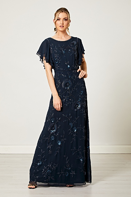 Flutter Sleeve Embellished Sequin Maxi Dress in Navy