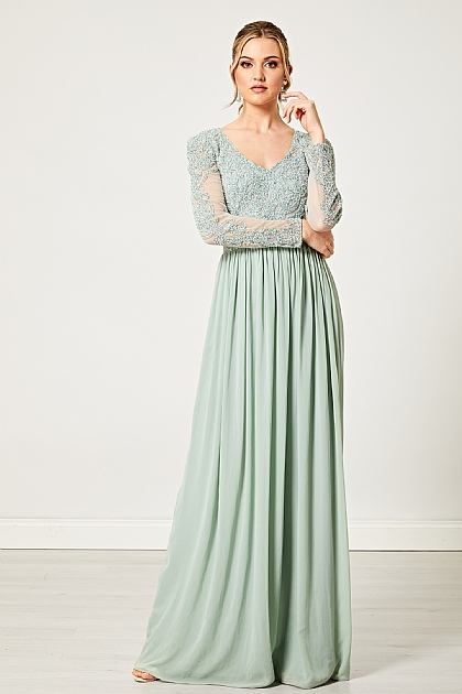 Mint Green Long Sleeve Embellished Maxi Dress
