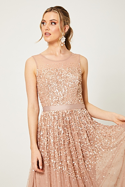 Nude Pink Embellished Sequin Ribbon Maxi Dress