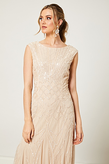 Bridesmaid Embellished Sequin Maxi Dress in Nude Pink