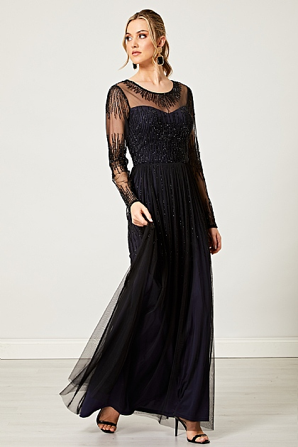 Embellished Lace Long Maxi Dress in Black and Navy