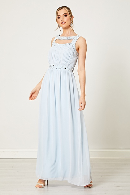 Light Pastel Blue Sequin Embellished Maxi Dress