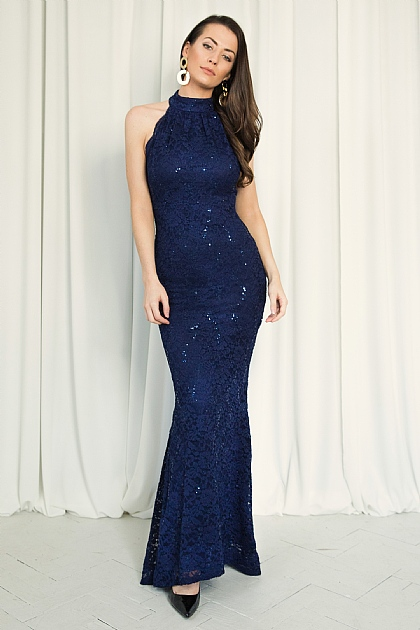 Navy Halterneck Fitted Sequin Maxi Dress