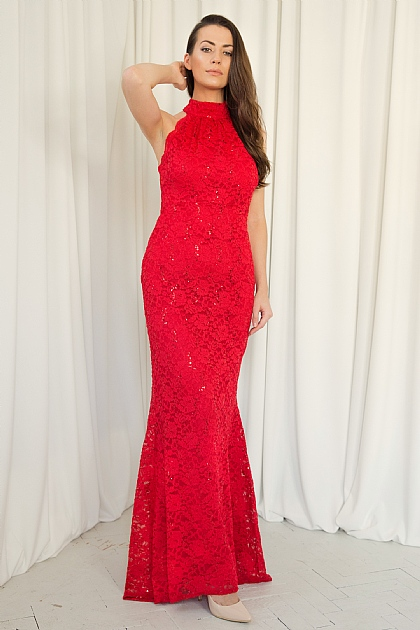 Red Halterneck Fitted Sequin Maxi Dress