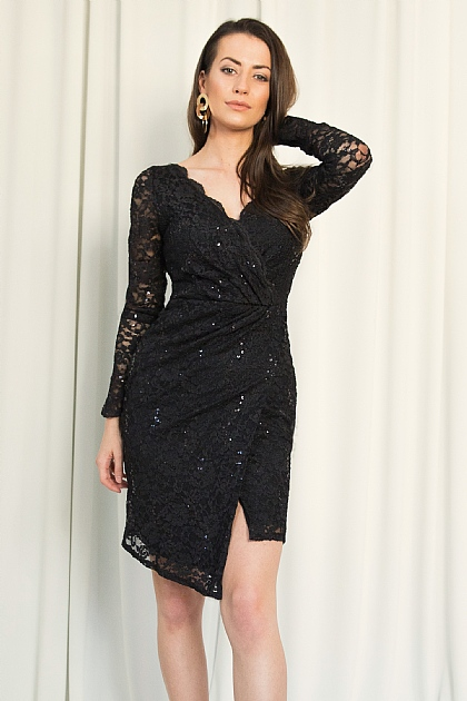 Black Lace and Sequin Wrap Front Mini Dress