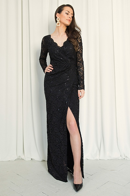 Black Lace and Sequin Wrap Front Maxi Dress