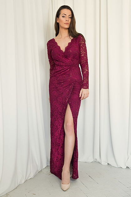 Wine Burgundy Lace and Sequin Wrap Front Maxi Dress