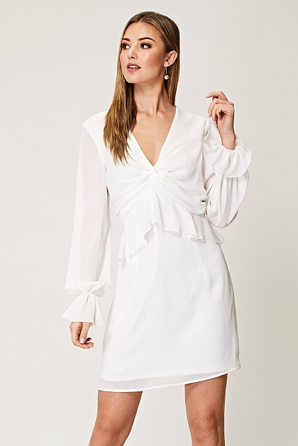 Mini Dress with Ruched Front in White