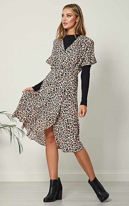 Cream Leopard Print Short Sleeve Wrap Midi Dress