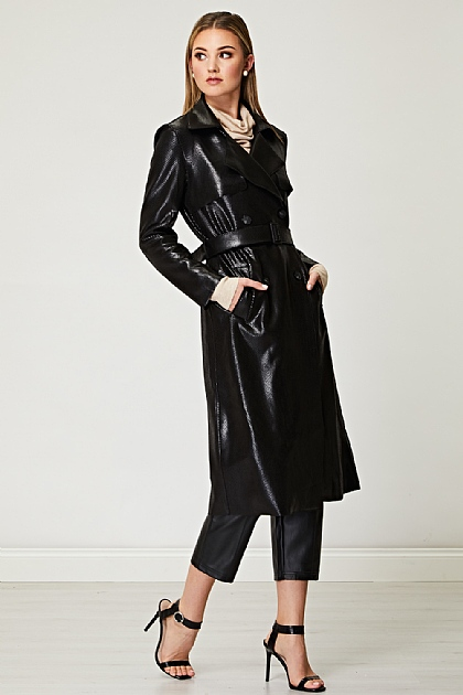 PU Snake Skin Textured Trench in Black