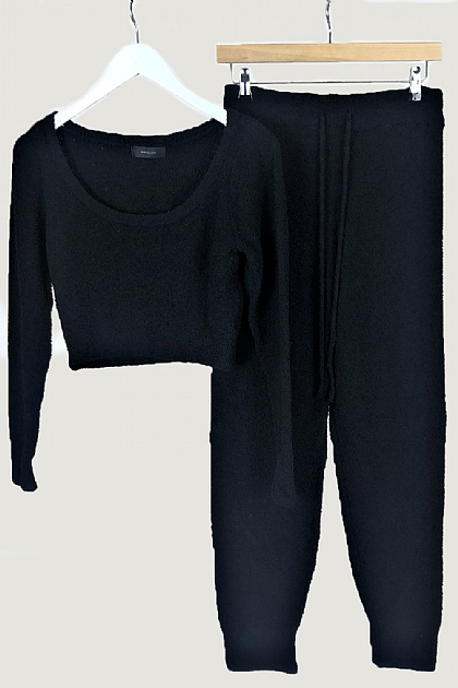 Black Fluffy Crop Loungewear Set