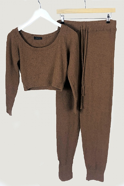Chocolate Fluffy Crop Loungewear Set