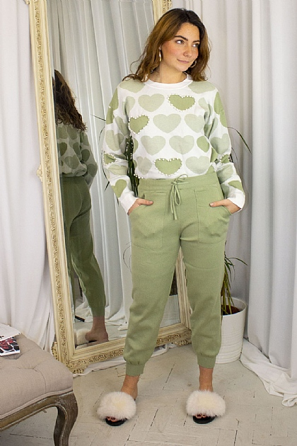 Green Knitted Hearts Printed Loungewear Set