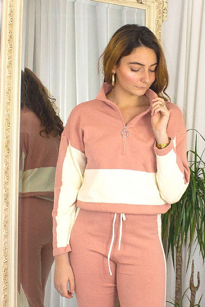 Knitwear Loungewear Color Block Co-ord Set in Blush