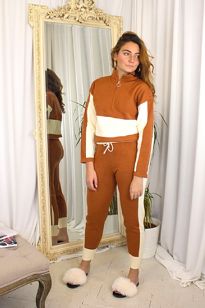 Knitwear Loungewear Color Block Co-ord Set in Brown